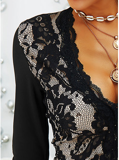 Lace Solid V-Neck Long Sleeves Sexy Blouses