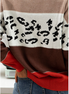Round Neck Casual Color Block Print Sweaters