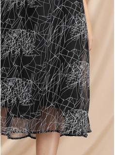 Hasta la rodilla/Midi Cuello redondo poliéster/Gasa Impresión Mangas 3/4 Vestidos de moda