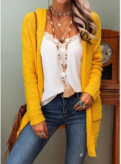Mit Kapuze Lässige Kleidung Lange Einfarbig Taschen Pullover