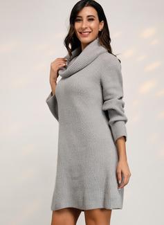 Punto De Cable Punto grueso Sólido poliéster Cuello De Tortuga Suéter Vestidos De Suéter Suéteres