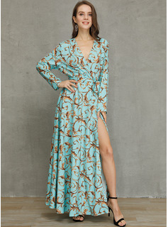 Maxi V neck Polyester Print/Slit 1/2 Sleeves Fashion Dresses
