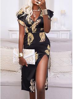 Print Sheath Short Sleeves Midi Elegant Dresses
