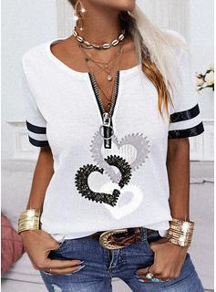 Impresión raya Corazón Cuello en V Manga Corta Casual Blusas