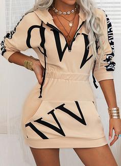 Print Bodycon Lange ærmer Mini Casual Sweatshirts Mode kjoler