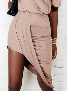 Solid Asymmetrical Short Sleeves Midi Casual Dresses