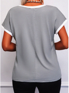 Impresión Cuello en V Manga Corta Casual camiseta