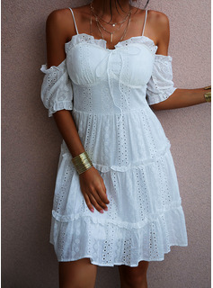 Solid A-line 1/2 Sleeves Cold Shoulder Sleeve Mini Casual Vacation Skater Dresses