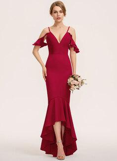 マーメイド Vネック 非対称 ストレッチクレープ ブライドメイドドレス とともに カスケードフリル
