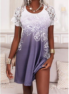 Floral Print Shift Short Sleeves Mini Casual Vacation Tunic Dresses