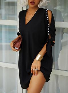 Solid Shift Elbiseleri Mâneci la Jumătate Mânecă cu umerii goi Midi Negre Zarif Tunică Moda Elbiseler