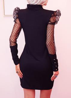 Solid Bodycon Lange ærmer Puf-ærmer Mini Den lille sorte Elegant Mode kjoler