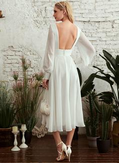 A-Line V-neck Tea-Length Wedding Dress