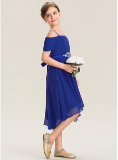 A-Line Off-the-Shoulder Asymmetrical Chiffon Junior Bridesmaid Dress With Beading Bow(s)