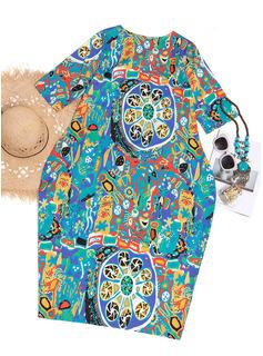 Bawełna Z Wydrukować Midi Sukienka