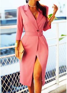 固体 シースドレス 3/4袖 ミディ リトルブラックドレス エレガント ファッションドレス