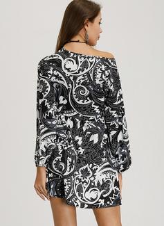 Nad kolanem Litera V Mieszanki bawełniane Wydrukować Długie rękawy Modne Suknie
