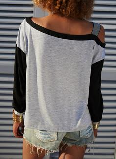 Blocchi di colore Paillettes Una spalla Maniche lunghe Casuale Camicie