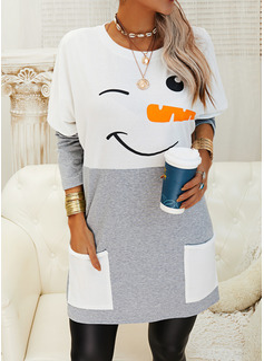 Color Block Print Lommer Rund hals Lange ærmer Jule sweatshirt
