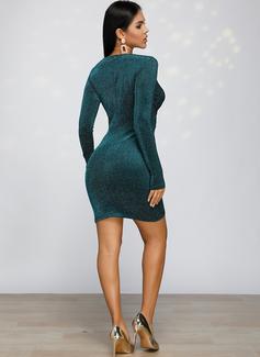 Solid Conică Mâneci Lungi Mini Parti Moda Elbiseler