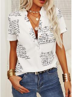 Print V-hals Korte ærmer Button-up Casual Shirt Skjorter