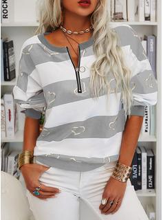 Color Block Print Hjerte V-hals Lange ærmer Sweatshirts