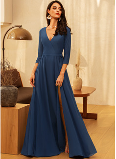 A-line 3/4 Sleeves Maxi Romantic Elegant Dresses