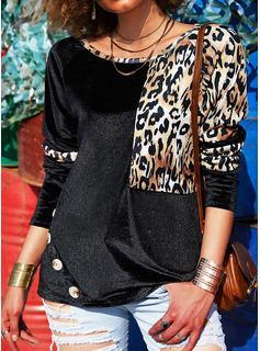 Leopardo Cuello Redondo Manga Larga Con Botones Casual Blusas