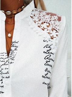 Figura Encaje Impresión Cuello en V Manga Larga Con Botones Elegante Camisas Blusas