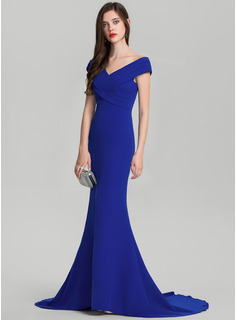 Trumpet/Mermaid Off-the-Shoulder Sweep Train Stretch Crepe Evening Dress With Ruffle