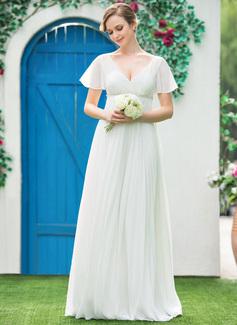 Empire V-neck Floor-Length Chiffon Wedding Dress With Beading Pleated