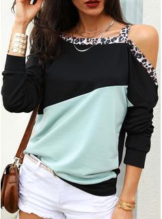 leopardo Blocchi di colore Una spalla Maniche lunghe Casuale Camicie
