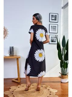 Floral Print Shift Short Sleeves Midi Casual Dresses