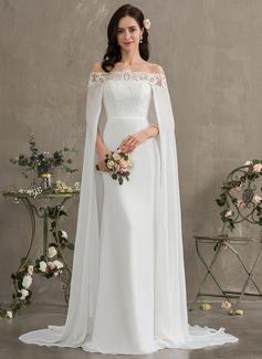 Sheath/Column Off-the-Shoulder Court Train Chiffon Wedding Dress