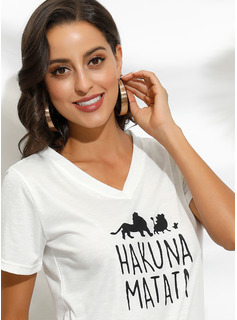 Animal Print V-Neck 1/2 Sleeves Casual T-shirt