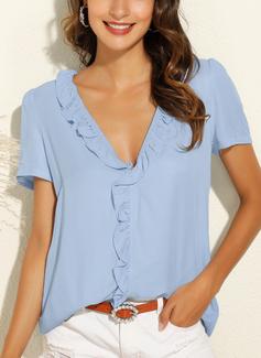Solid Short Sleeves Polyester V Neck Blouses