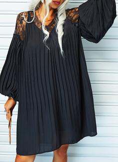 Spitze Einfarbig Etuikleider Lange Ärmel Mini Kleine Schwarze Elegant Tunika Modekleider