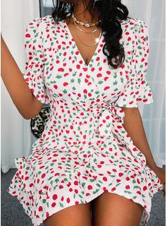 Impresión Vestido línea A Mangas 1/2 Mini Casual Patinador Bolero Vestidos de moda