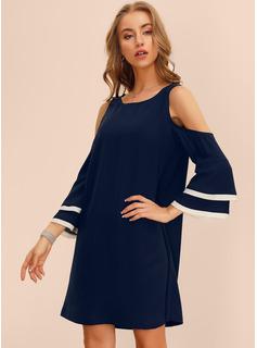 Over Knee rund hals Polyester Solid Lange ærmer/flare Sleeves/Kold-skulder ærmer Mode kjoler