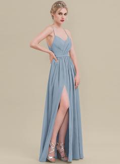 A-Line Sweetheart Floor-Length Chiffon Bridesmaid Dress With Ruffle Split Front
