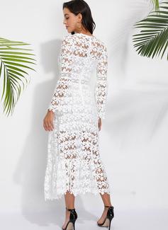 Medium V-hals Blonder Blonder/Solid Lange ærmer/flare Sleeves Mode kjoler