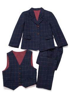 Rapazes 3 peças Xadrez Roupas de Pajem /Ternos Menino Página com Jaqueta Oeste calça