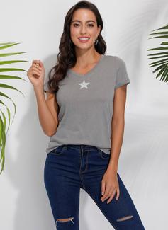 Impresión Manga corta Algodón poliéster Escote en V camiseta Blusas