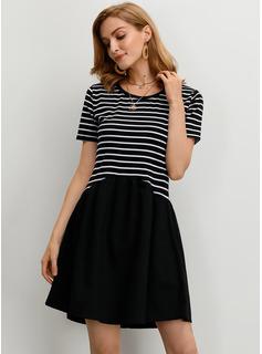 縞模様の シフトドレス 半袖 ミニ カジュアル ファッションドレス