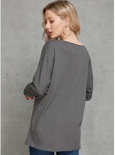 Manga larga poliéster Escote en V Tejido camiseta Blusas