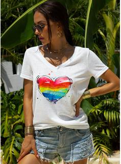 Print Short Sleeves Polyester V Neck T-shirt Blouses