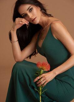 V-Neck Dark Green Stretch Crepe Dresses