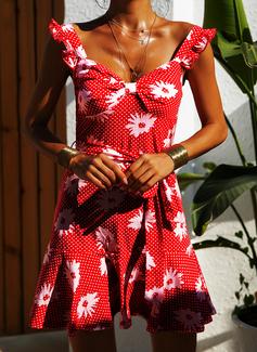 Цветочный В горошек Распечатать A-линии безрукавный Мини Повседневная отпуск Конькобежец Модные платья