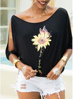 Drucken Sonnenblumendruck 1/2 Ärmel Polyester Schulterfrei T-shirt Blusen