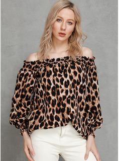 Leopardo Manga larga poliéster Hombros caídos Blusas